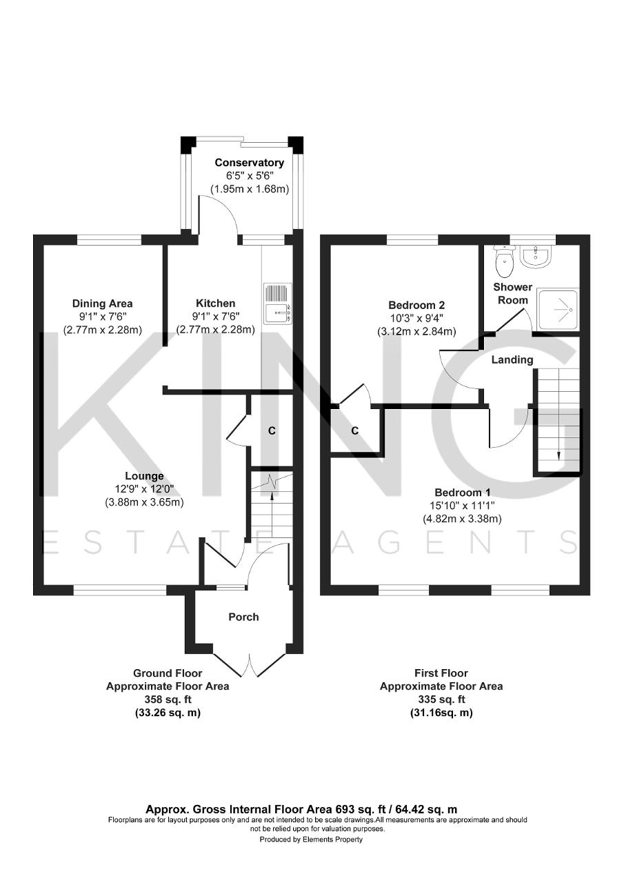 Floorplan for Dorchester Avenue, Bletchley, Milton Keynes, Buckinghamshire, MK3 6PQ