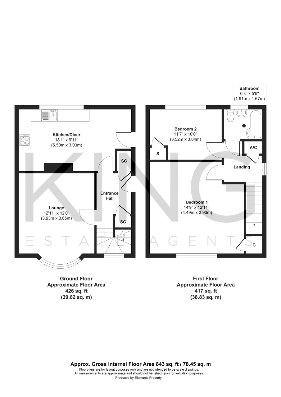 Floorplan for Larch Grove, Bletchley, Milton Keynes, Buckinghamshire, MK2 2LG