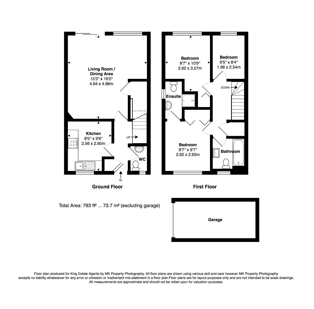 Floorplan for Ascot Place, Bletchley, Milton Keynes, Buckinghamshire, MK3 5BB
